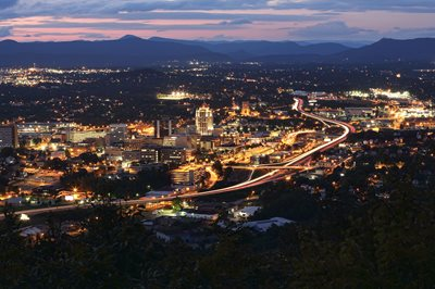 Downtown Roanoke at night