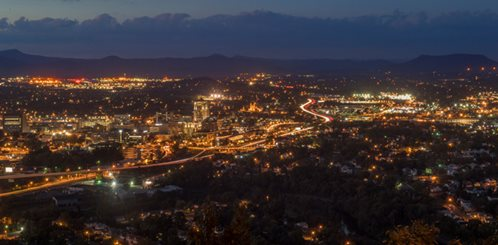 Roanoke region at night