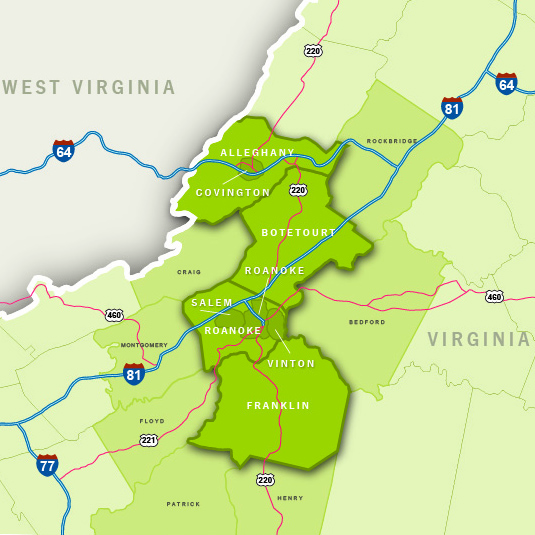 roanoke region map